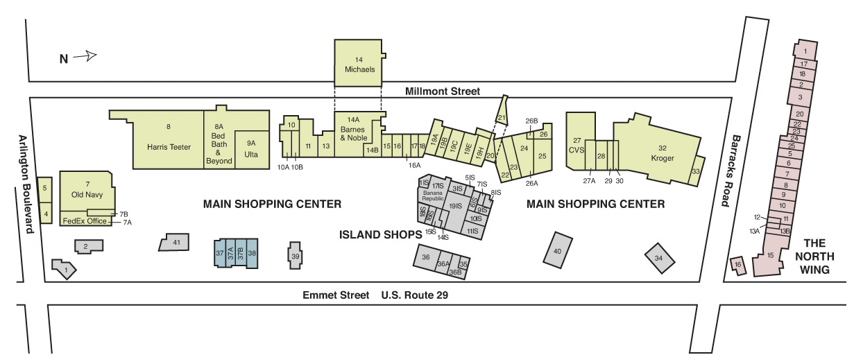 Barracks Road Shopping Center map