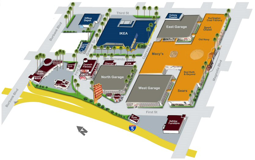 Burbank Town Center map