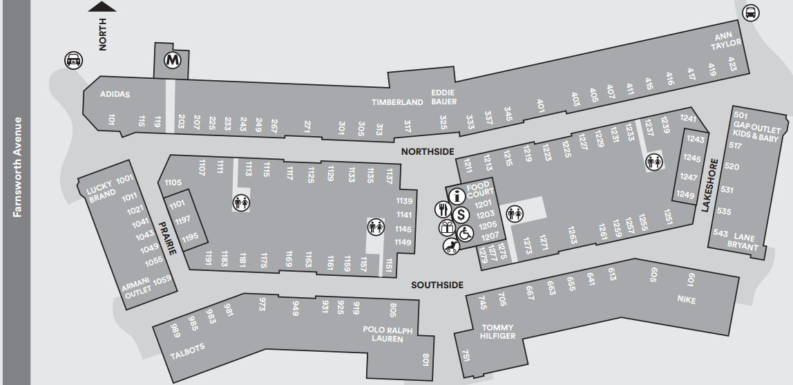Chicago Premium Outlets map