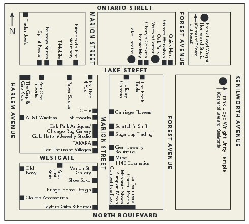 Downtown Oak Park map