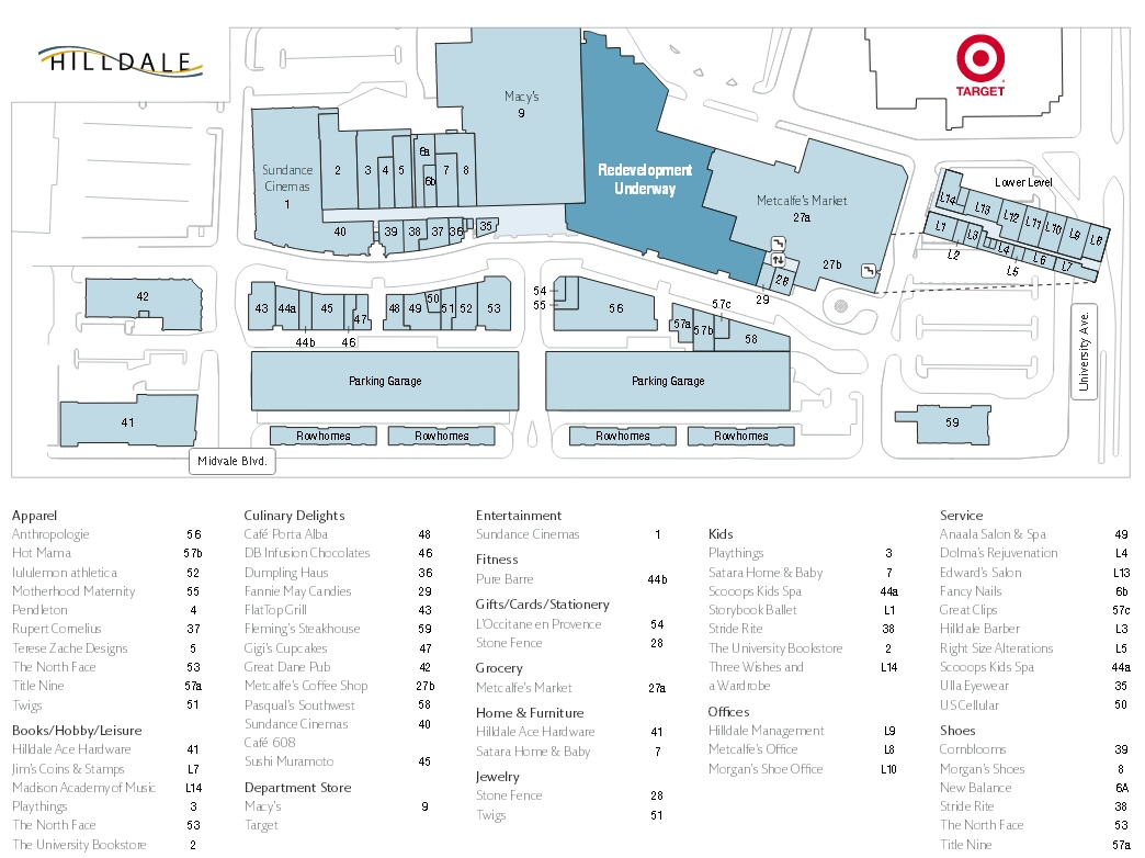 Hilldale Mall map