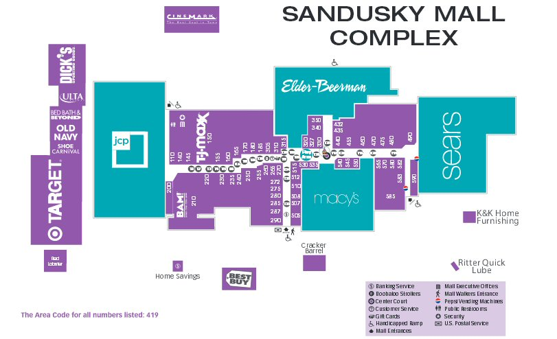Sandusky Mall map