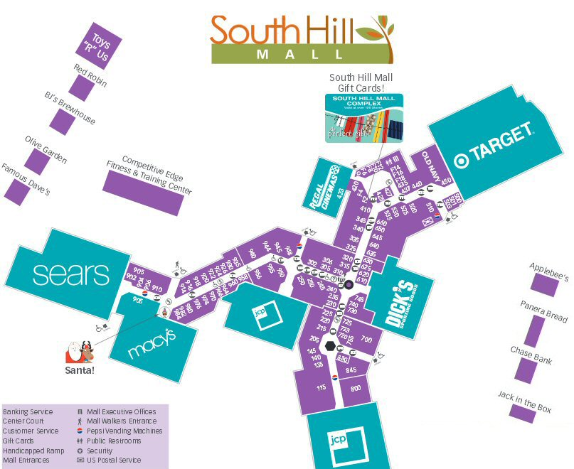 South Hill Mall map