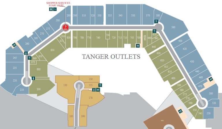 Tanger Outlets Foxwoods map