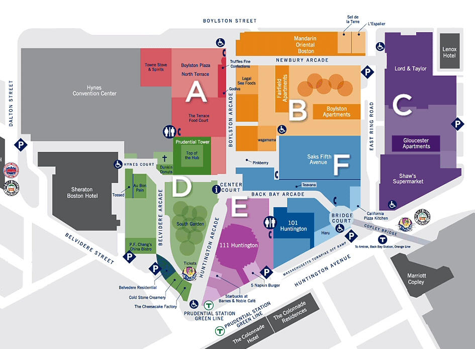 The Shops at Prudential Center map