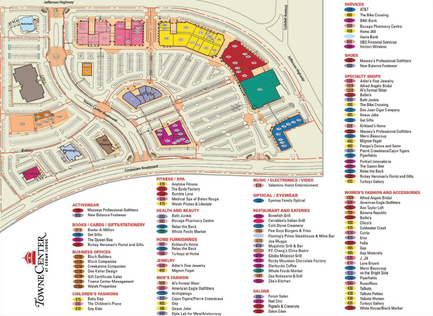 Towne Center at Cedar Lodge map